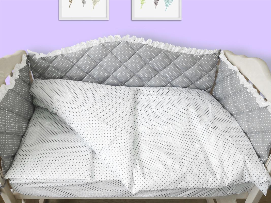 Комплект в кроватку 120*60 Joy (6 ед) Королевский с кружевом (защита из 4 ед)