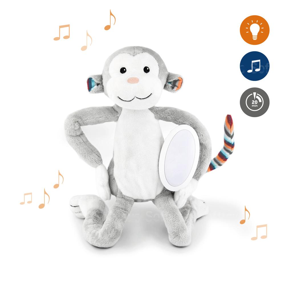 Музыкальная мягкая игрушка ZAZU Обезьянка МАКС с ночником