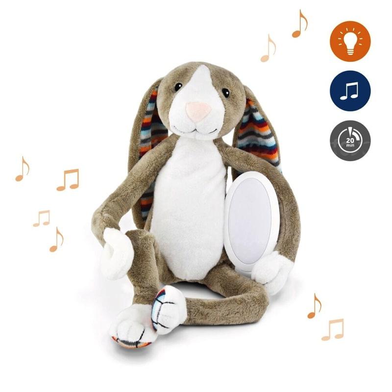 Музыкальная мягкая игрушка ZAZU Зайчик БО с ночником