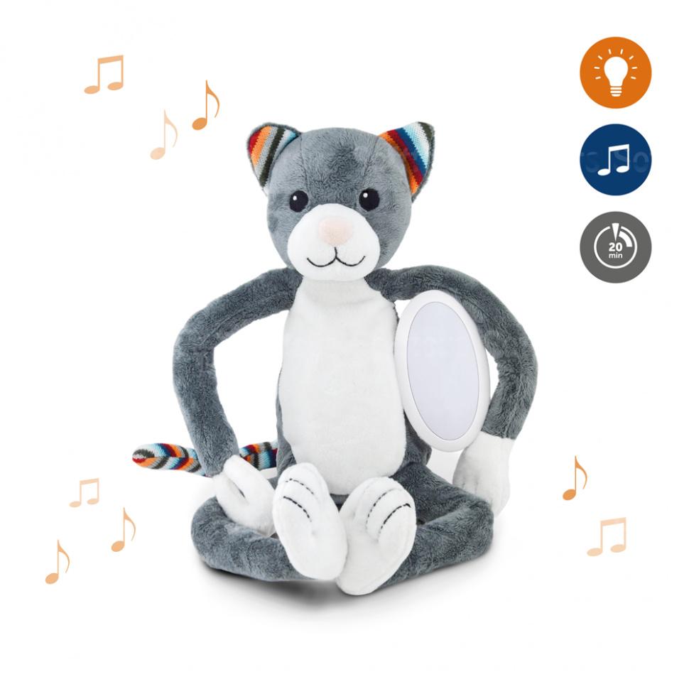 Музыкальная мягкая игрушка ZAZU Котенок КЭТИ с ночником