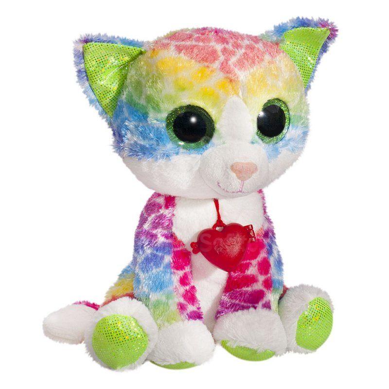 Мягкая игрушка Глазастик радужный котик с кулоном 22 см