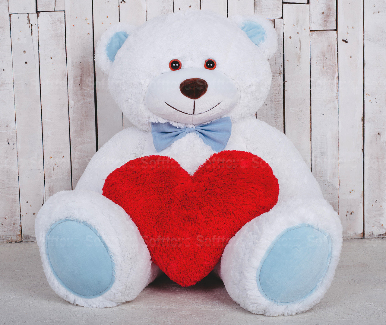 Мягкая игрушка Мишка Билли с сердцем Белый