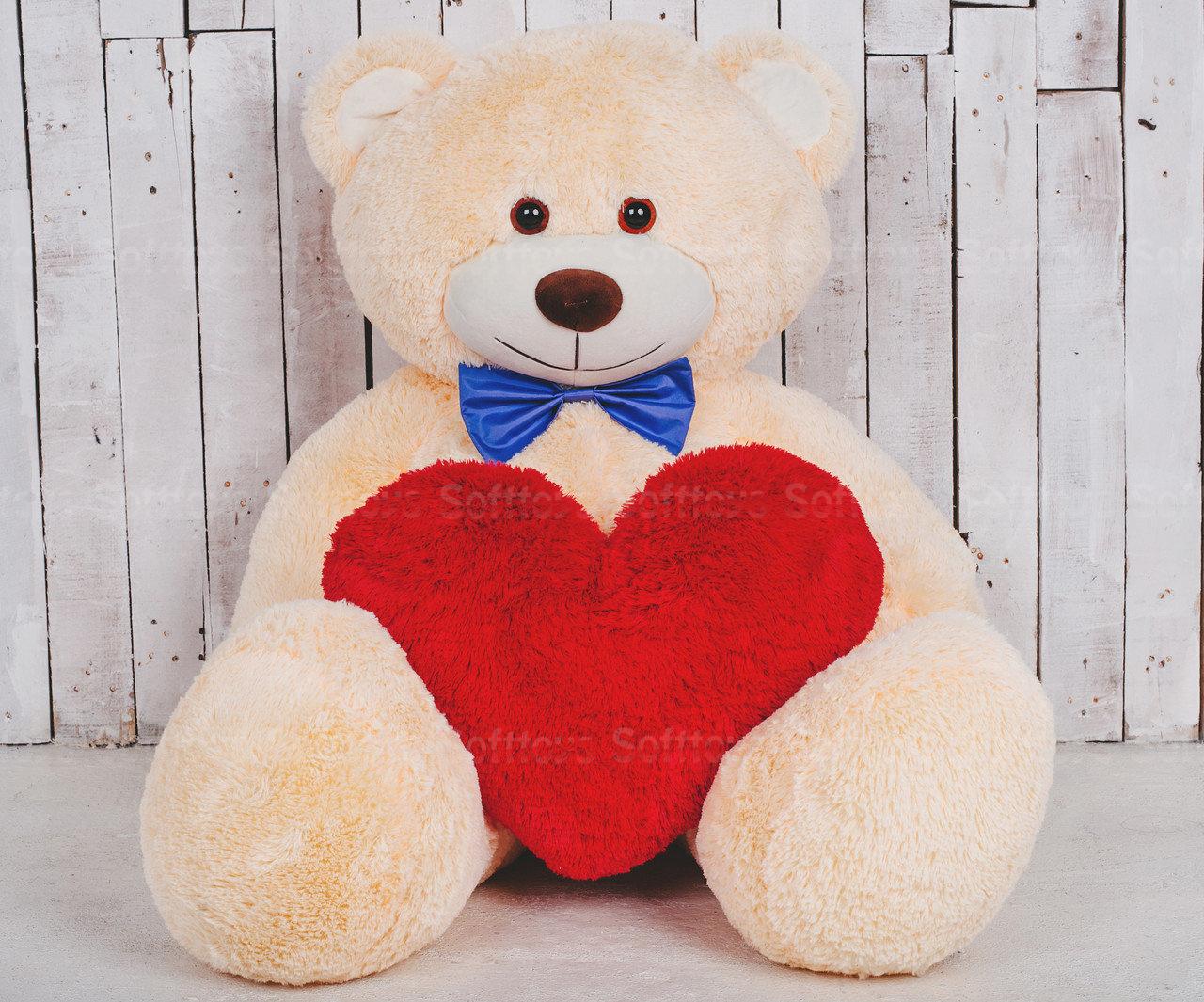 Мягкая игрушка Мишка Билли с сердцем Персик