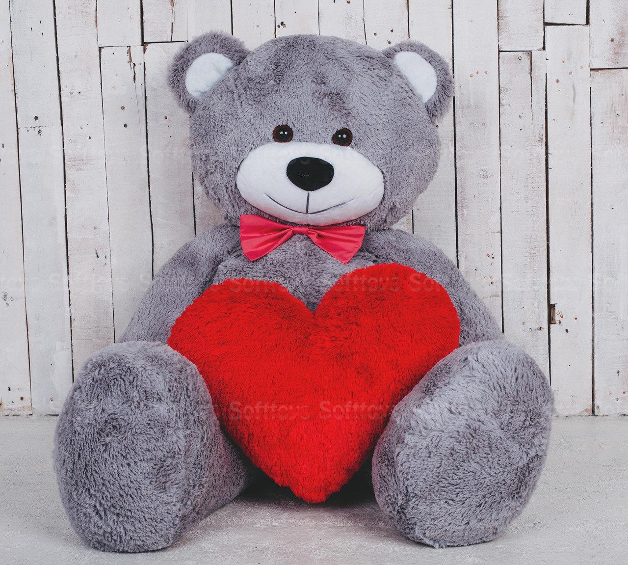 Мягкая игрушка Мишка Билли с сердцем Серый
