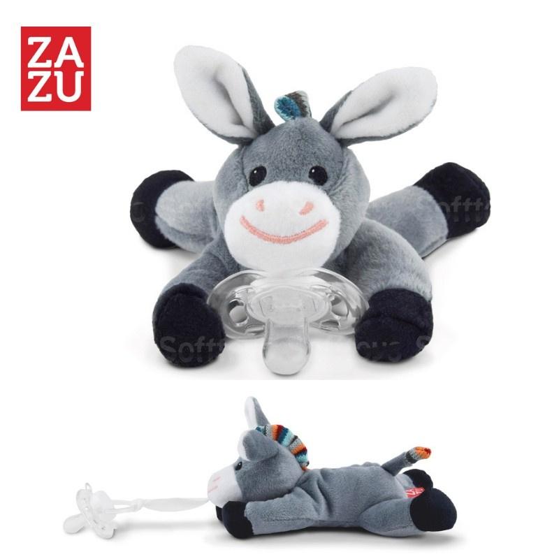 Мягкая игрушка ZAZU держатель для пустышки Ослик Donny