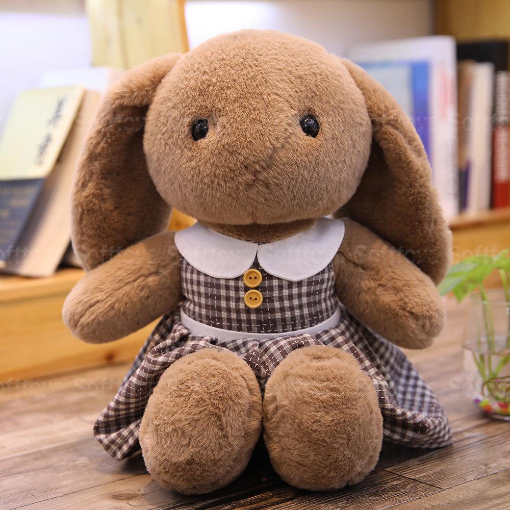 Мягкая игрушка Зайка в платье (коричневый)