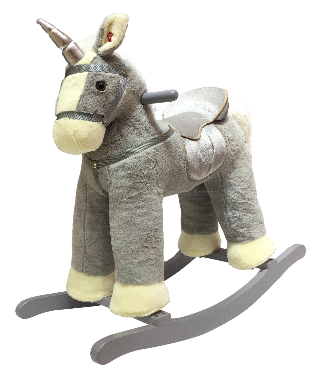 Мягкая игрушка-качалка музыкальный Единорог Grey