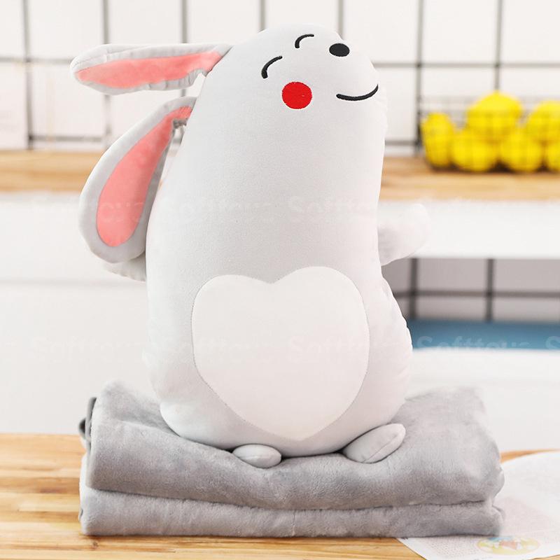 Мягкая игрушка-подушка Кролик с пледом