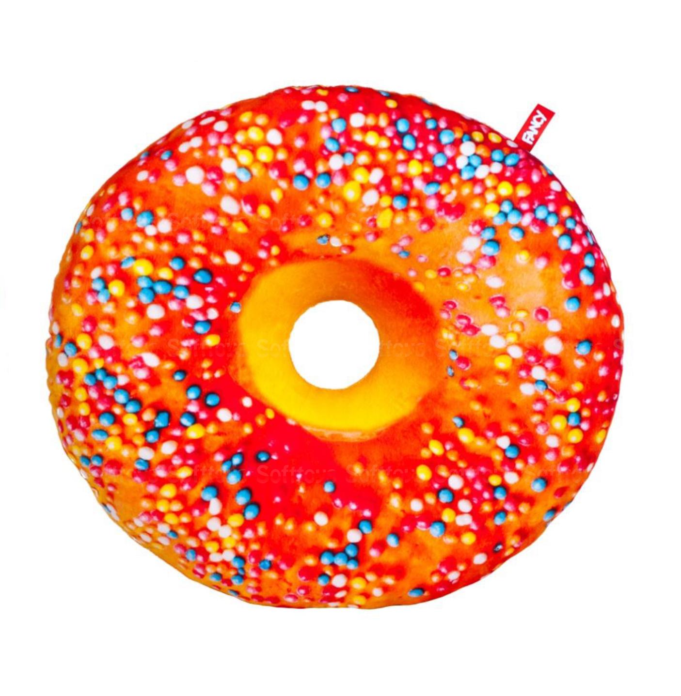 """Мягкая игрушка подушка Пончик """"Апельсиновая глазурь"""" 43 см"""