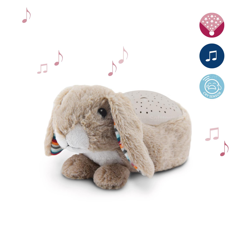 Мягкая музыкальная-игрушка ZAZU ночник-проектор Кролик Руби