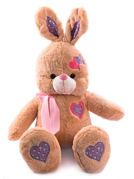Зайка с сердечками (коричневый) 85 см