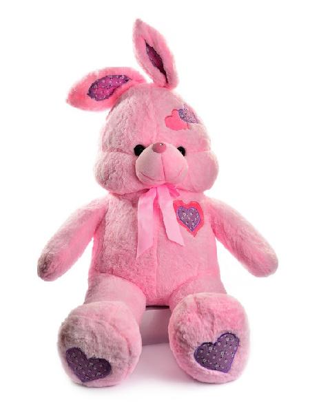 Зайка с сердечками (розовый) 85 см