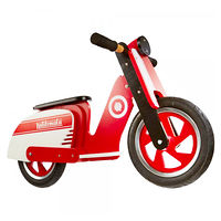 "Беговел деревянный 12"" Kiddi Moto Scooter красно-белый"