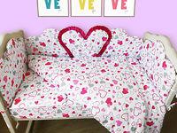 Комплект в кроватку 120*60 Joy (6 ед) Большое сердце (защита из 8 ед)