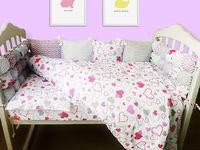 Комплект в кроватку 120*60 Joy (6 ед) Сердечки Комбинированный (защита из 10 ед)
