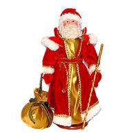 Кукла фарфоровая Дед Мороз в красно-золотой шубе 35 см