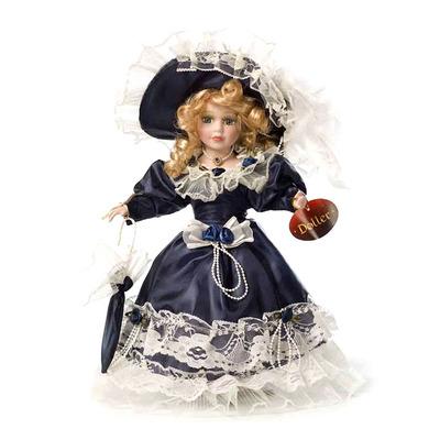 Кукла фарфоровая Лиза в синем 30 см