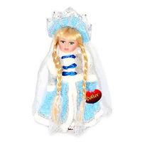 Кукла фарфоровая Снегурочка в голубом 30 см