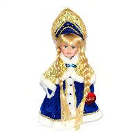 Кукла фарфоровая Снегурочка в синем 30 см